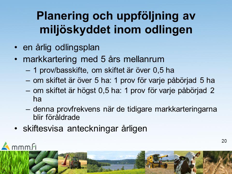 20 Planering och uppföljning av miljöskyddet inom odlingen •en årlig odlingsplan •markkartering med 5 års mellanrum –1 prov/basskifte, om skiftet är ö