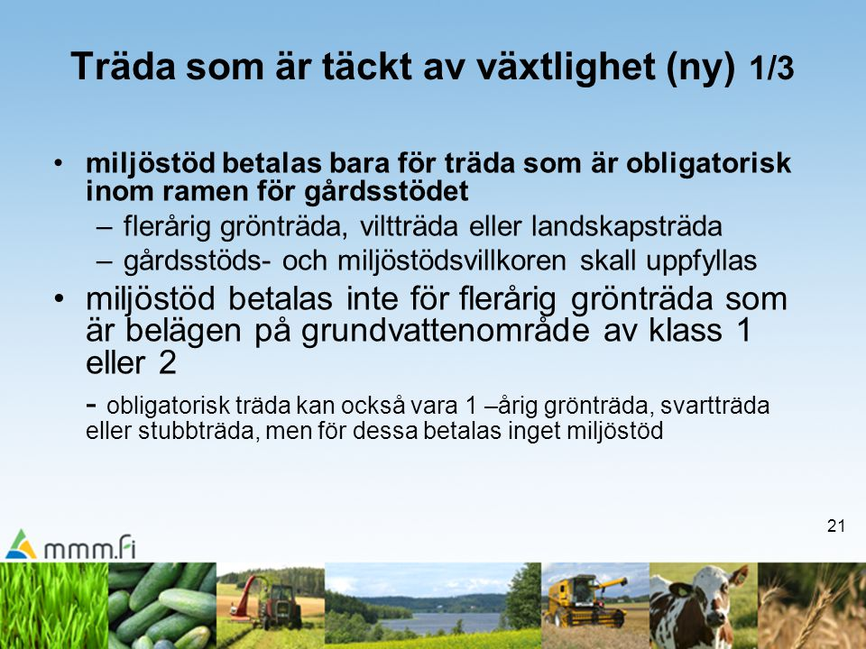 21 Träda som är täckt av växtlighet (ny) 1/3 •miljöstöd betalas bara för träda som är obligatorisk inom ramen för gårdsstödet –flerårig grönträda, vil