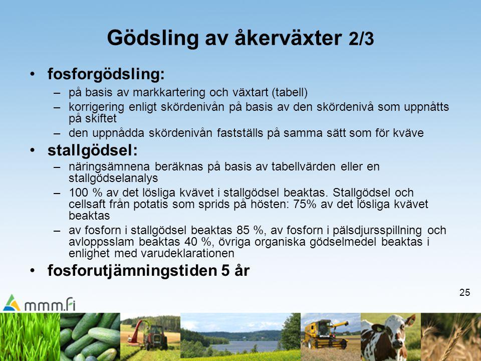 25 Gödsling av åkerväxter 2/3 •fosforgödsling: –på basis av markkartering och växtart (tabell) –korrigering enligt skördenivån på basis av den skörden