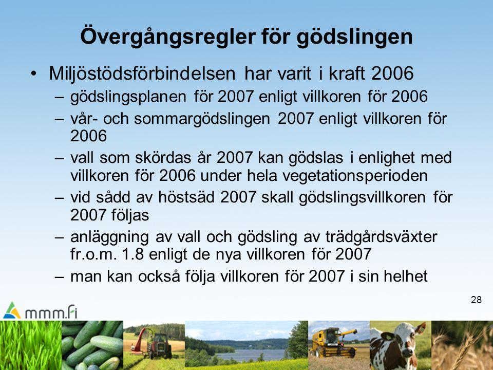 28 Övergångsregler för gödslingen •Miljöstödsförbindelsen har varit i kraft 2006 –gödslingsplanen för 2007 enligt villkoren för 2006 –vår- och sommarg