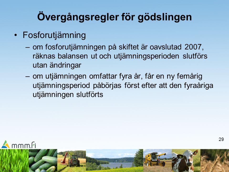 29 Övergångsregler för gödslingen •Fosforutjämning –om fosforutjämningen på skiftet är oavslutad 2007, räknas balansen ut och utjämningsperioden slutf