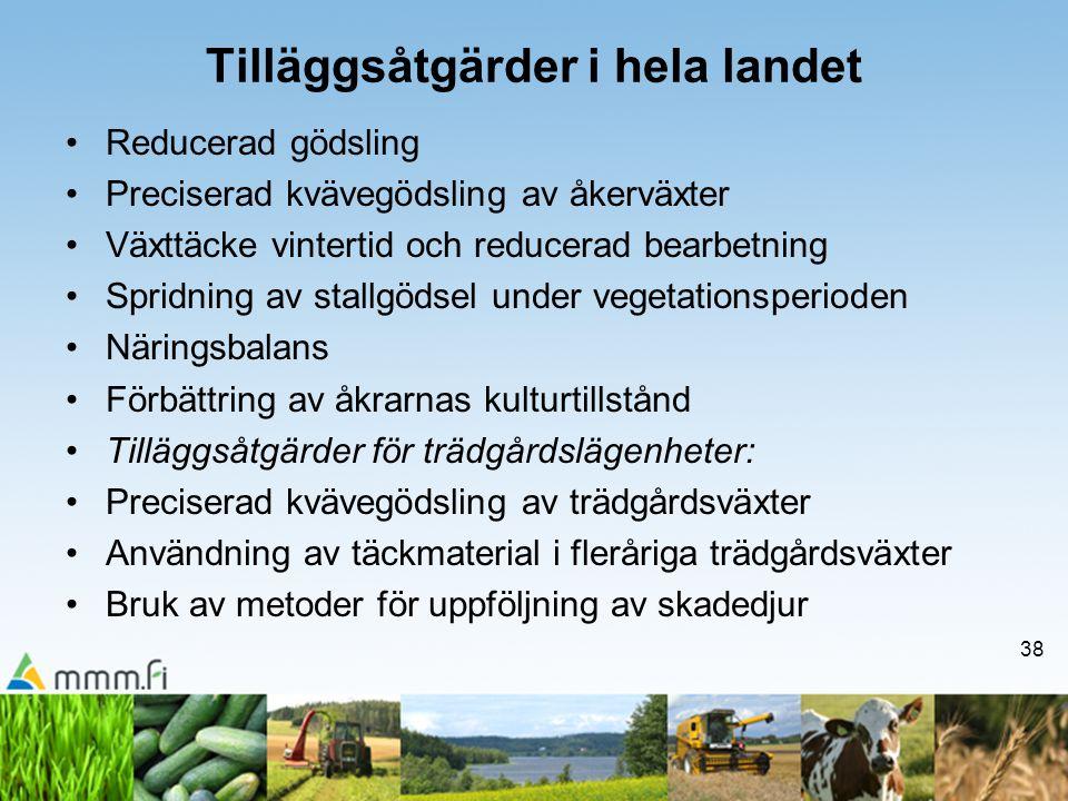 38 Tilläggsåtgärder i hela landet •Reducerad gödsling •Preciserad kvävegödsling av åkerväxter •Växttäcke vintertid och reducerad bearbetning •Spridnin
