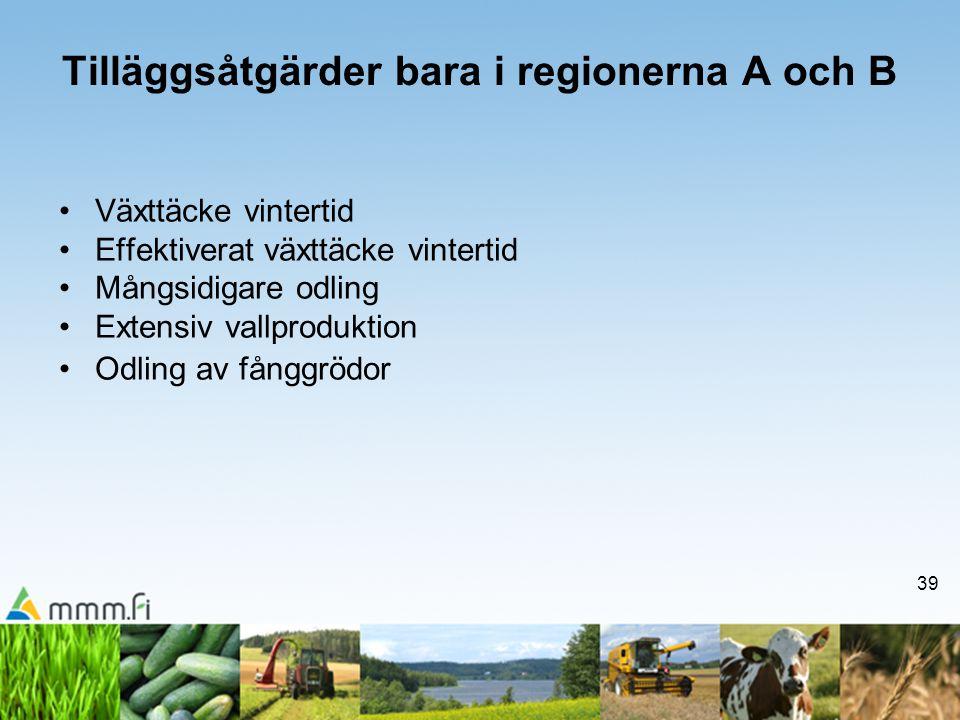39 Tilläggsåtgärder bara i regionerna A och B •Växttäcke vintertid •Effektiverat växttäcke vintertid •Mångsidigare odling •Extensiv vallproduktion •Od