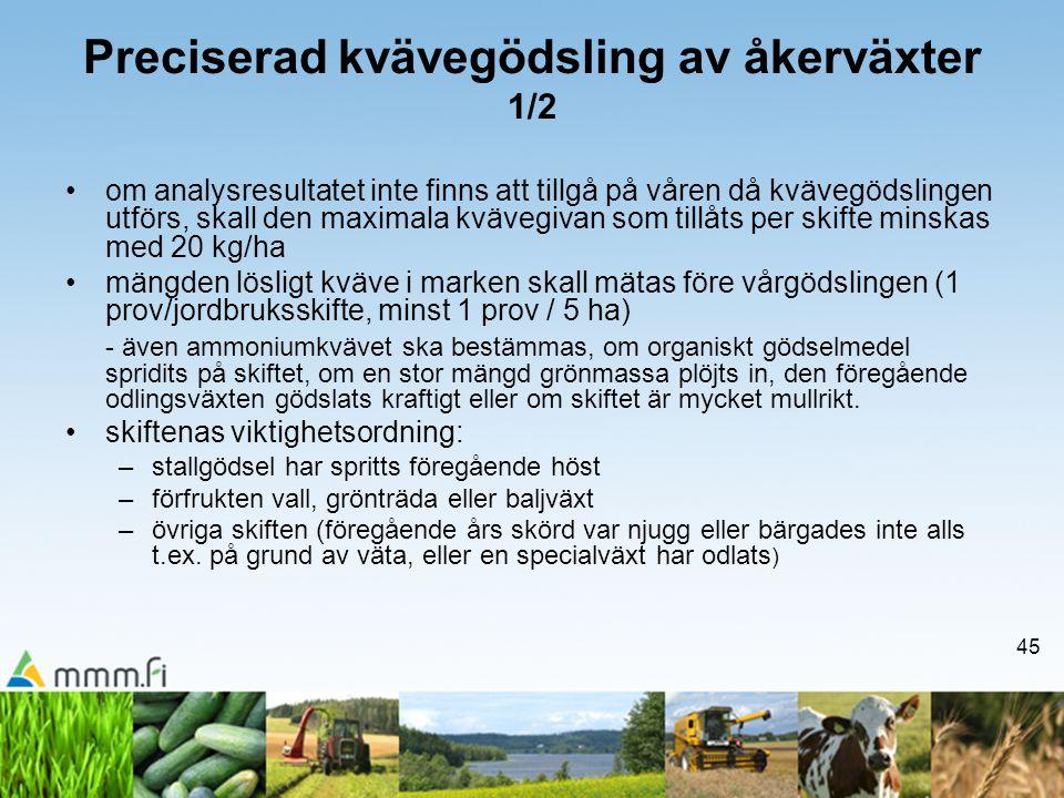 45 Preciserad kvävegödsling av åkerväxter 1/2 •om analysresultatet inte finns att tillgå på våren då kvävegödslingen utförs, skall den maximala kväveg