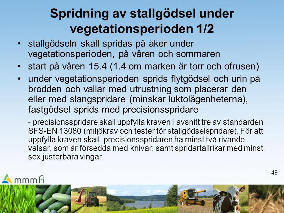49 Spridning av stallgödsel under vegetationsperioden 1/2 •stallgödseln skall spridas på åker under vegetationsperioden, på våren och sommaren •start