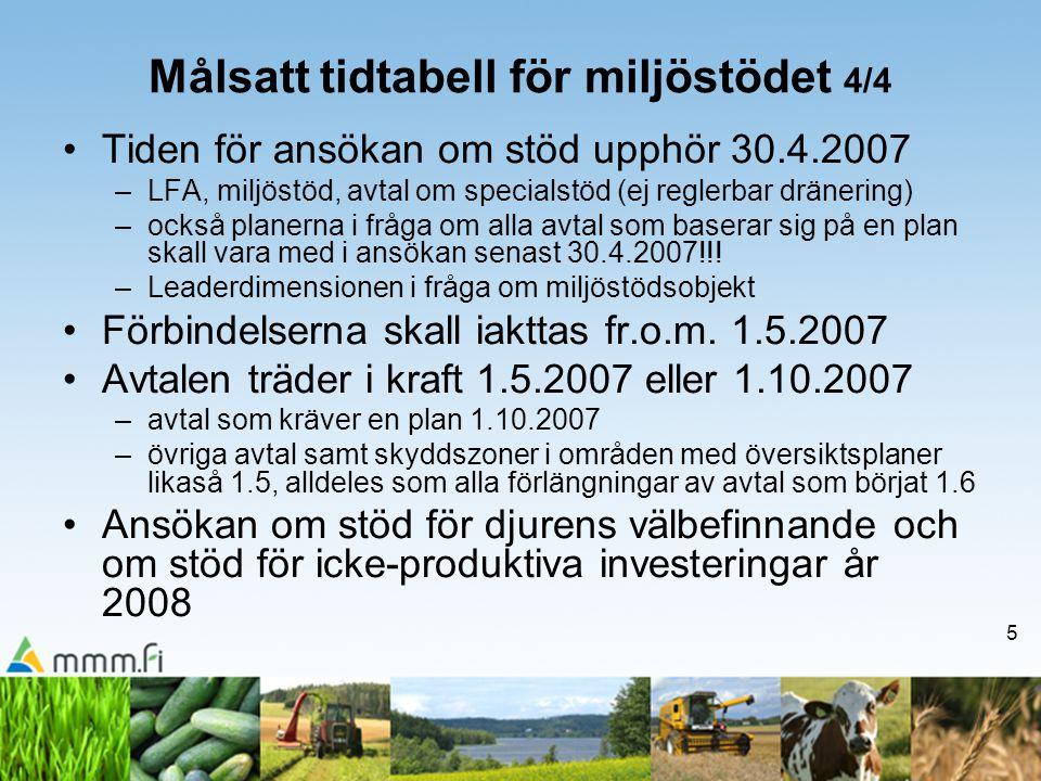 5 Målsatt tidtabell för miljöstödet 4/4 •Tiden för ansökan om stöd upphör 30.4.2007 –LFA, miljöstöd, avtal om specialstöd (ej reglerbar dränering) –oc