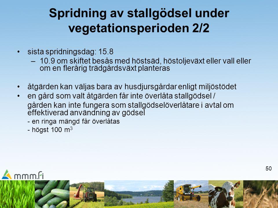 50 Spridning av stallgödsel under vegetationsperioden 2/2 •sista spridningsdag: 15.8 –10.9 om skiftet besås med höstsäd, höstoljeväxt eller vall eller