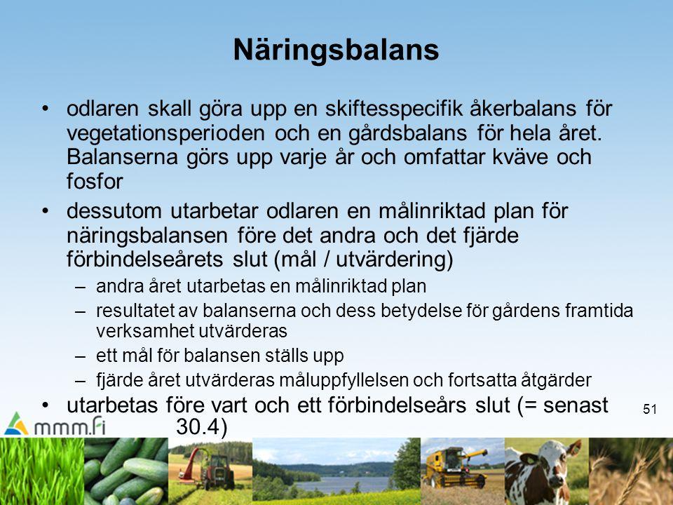 51 Näringsbalans •odlaren skall göra upp en skiftesspecifik åkerbalans för vegetationsperioden och en gårdsbalans för hela året. Balanserna görs upp v