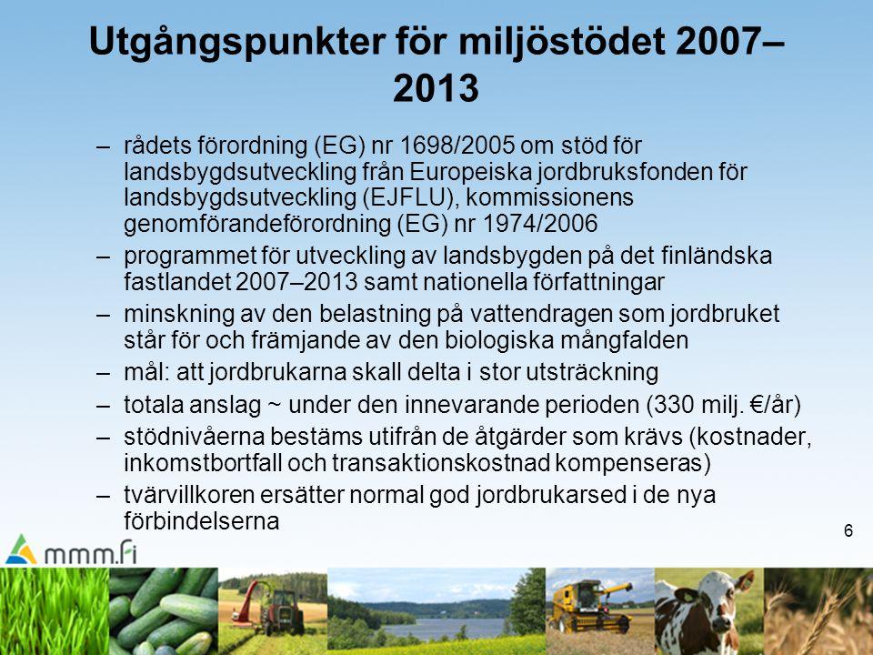 6 Utgångspunkter för miljöstödet 2007– 2013 –rådets förordning (EG) nr 1698/2005 om stöd för landsbygdsutveckling från Europeiska jordbruksfonden för