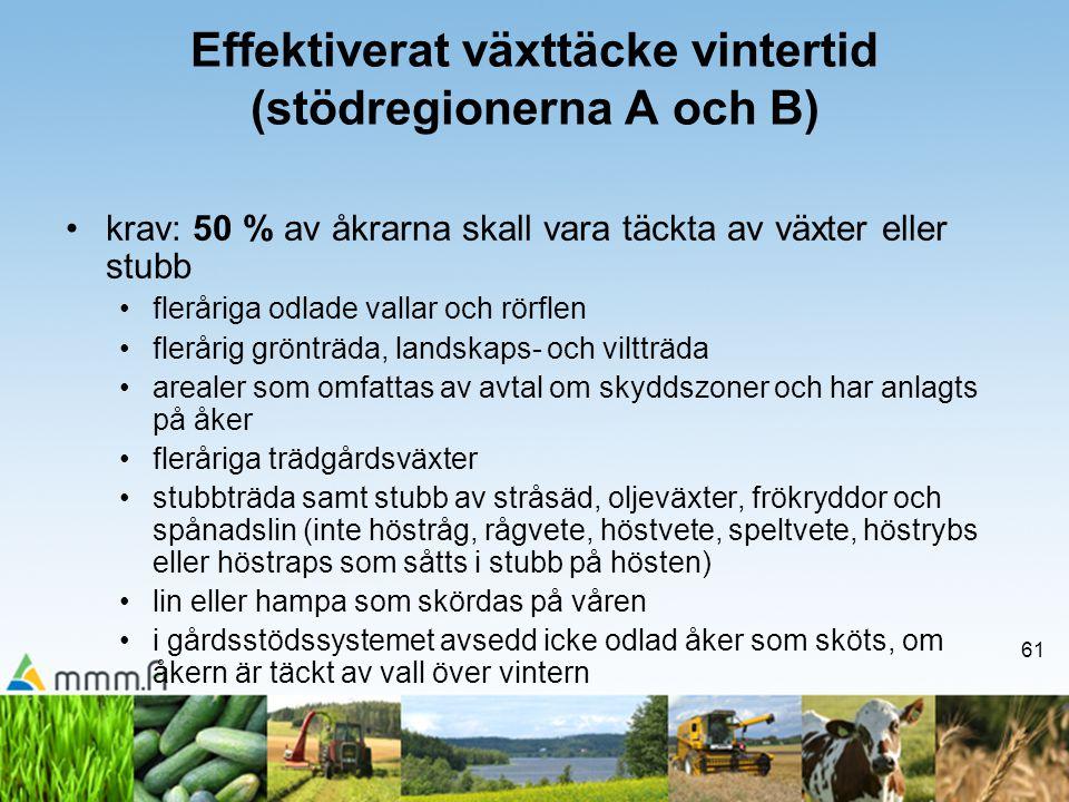 61 Effektiverat växttäcke vintertid (stödregionerna A och B) •krav: 50 % av åkrarna skall vara täckta av växter eller stubb •fleråriga odlade vallar o