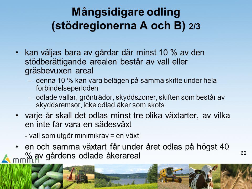 62 Mångsidigare odling (stödregionerna A och B) 2/3 •kan väljas bara av gårdar där minst 10 % av den stödberättigande arealen består av vall eller grä