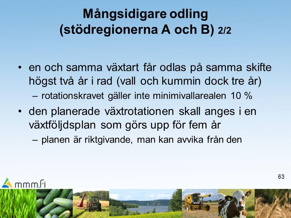 63 Mångsidigare odling (stödregionerna A och B) 2/2 •en och samma växtart får odlas på samma skifte högst två år i rad (vall och kummin dock tre år) –