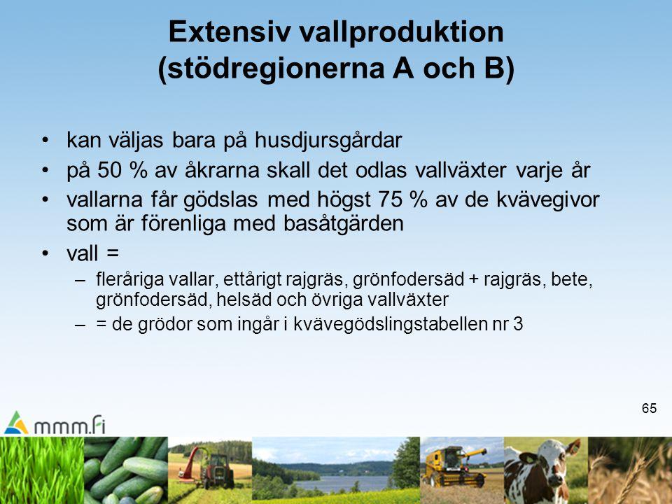 65 Extensiv vallproduktion (stödregionerna A och B) •kan väljas bara på husdjursgårdar •på 50 % av åkrarna skall det odlas vallväxter varje år •vallar