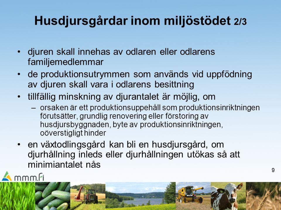 9 Husdjursgårdar inom miljöstödet 2/3 •djuren skall innehas av odlaren eller odlarens familjemedlemmar •de produktionsutrymmen som används vid uppfödn