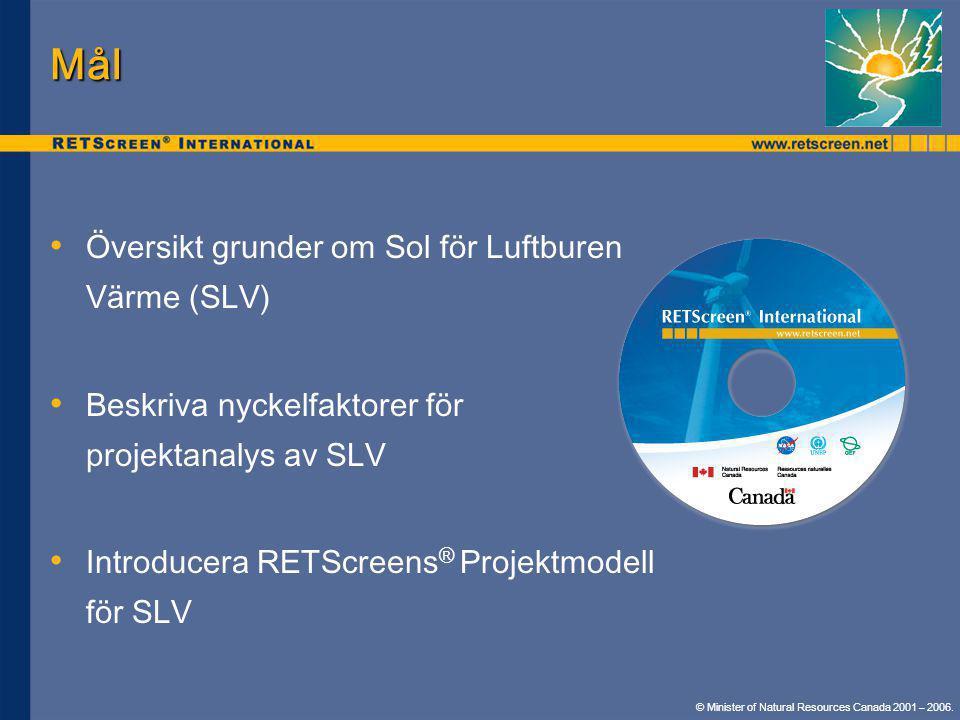Mål • • Översikt grunder om Sol för Luftburen Värme (SLV) • • Beskriva nyckelfaktorer för projektanalys av SLV • • Introducera RETScreens ® Projektmod