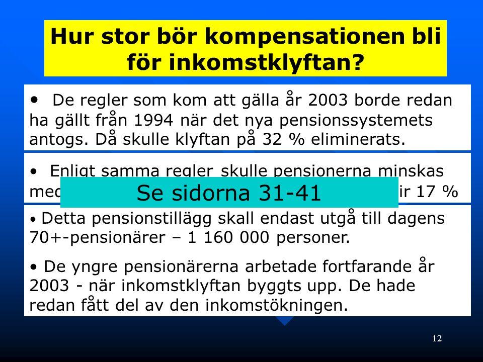 12 Hur stor bör kompensationen bli för inkomstklyftan? • De regler som kom att gälla år 2003 borde redan ha gällt från 1994 när det nya pensionssystem