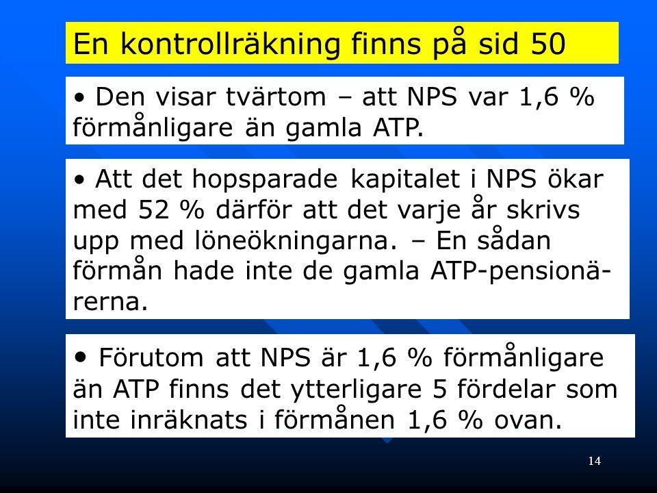 14 En kontrollräkning finns på sid 50 • Den visar tvärtom – att NPS var 1,6 % förmånligare än gamla ATP. • Att det hopsparade kapitalet i NPS ökar med