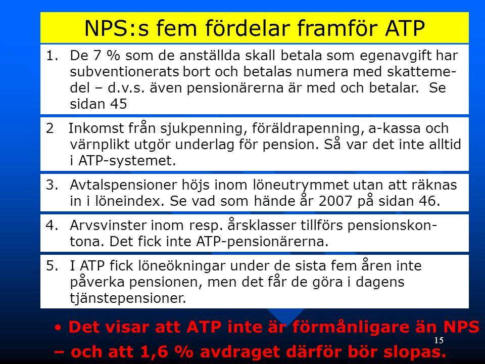 15 NPS:s fem fördelar framför ATP 1.De 7 % som de anställda skall betala som egenavgift har subventionerats bort och betalas numera med skatteme- del – d.v.s.