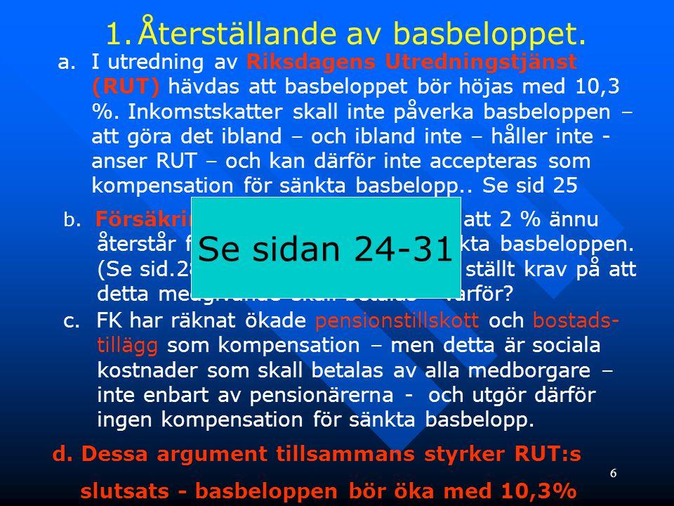 6 1.Återställande av basbeloppet. a.I utredning av Riksdagens Utredningstjänst (RUT) hävdas att basbeloppet bör höjas med 10,3 %. Inkomstskatter skall