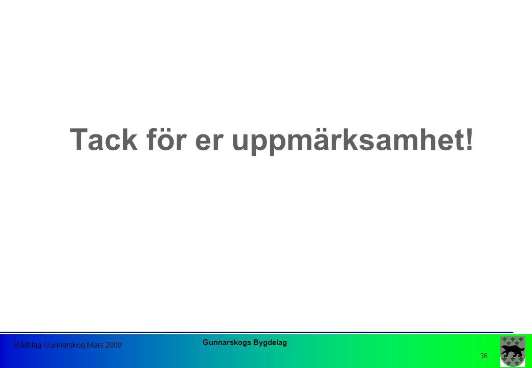 Gunnarskogs Bygdelag Rådslag Gunnarskog Mars 2009 36 Tack för er uppmärksamhet!