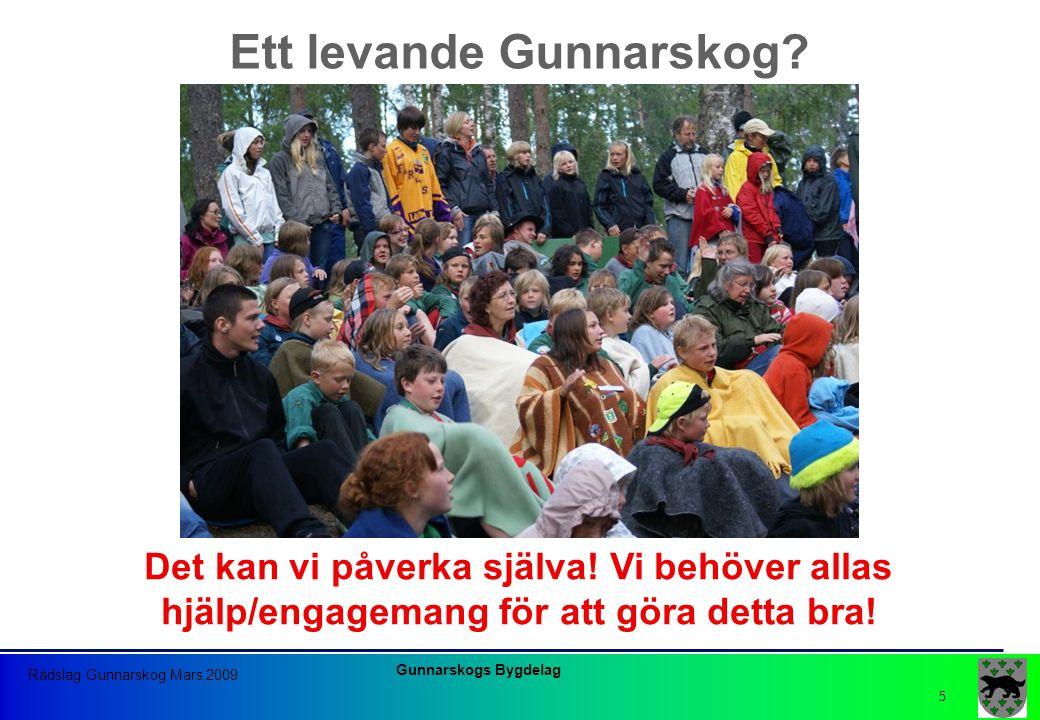 Gunnarskogs Bygdelag Rådslag Gunnarskog Mars 2009 5 Ett levande Gunnarskog? Det kan vi påverka själva! Vi behöver allas hjälp/engagemang för att göra
