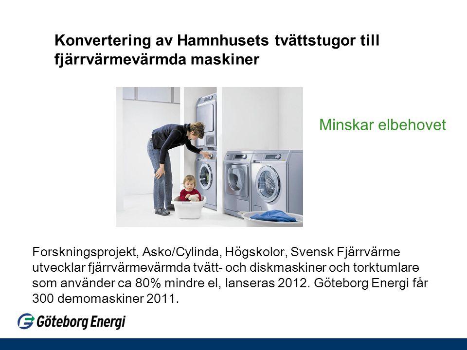 Konvertering av Hamnhusets tvättstugor till fjärrvärmevärmda maskiner Forskningsprojekt, Asko/Cylinda, Högskolor, Svensk Fjärrvärme utvecklar fjärrvär