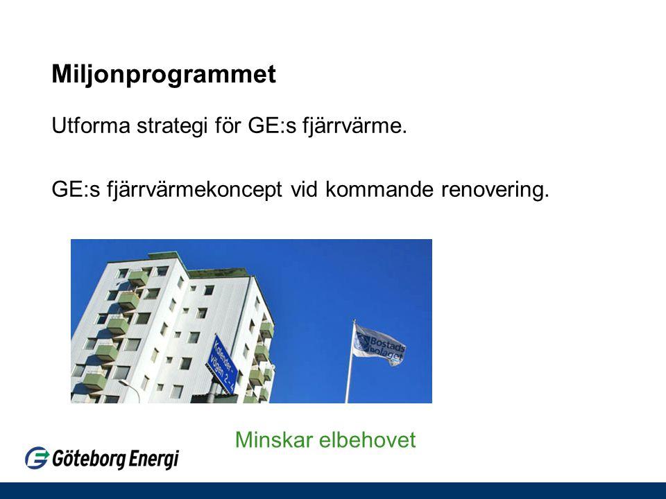 Miljonprogrammet Utforma strategi för GE:s fjärrvärme. GE:s fjärrvärmekoncept vid kommande renovering. Minskar elbehovet
