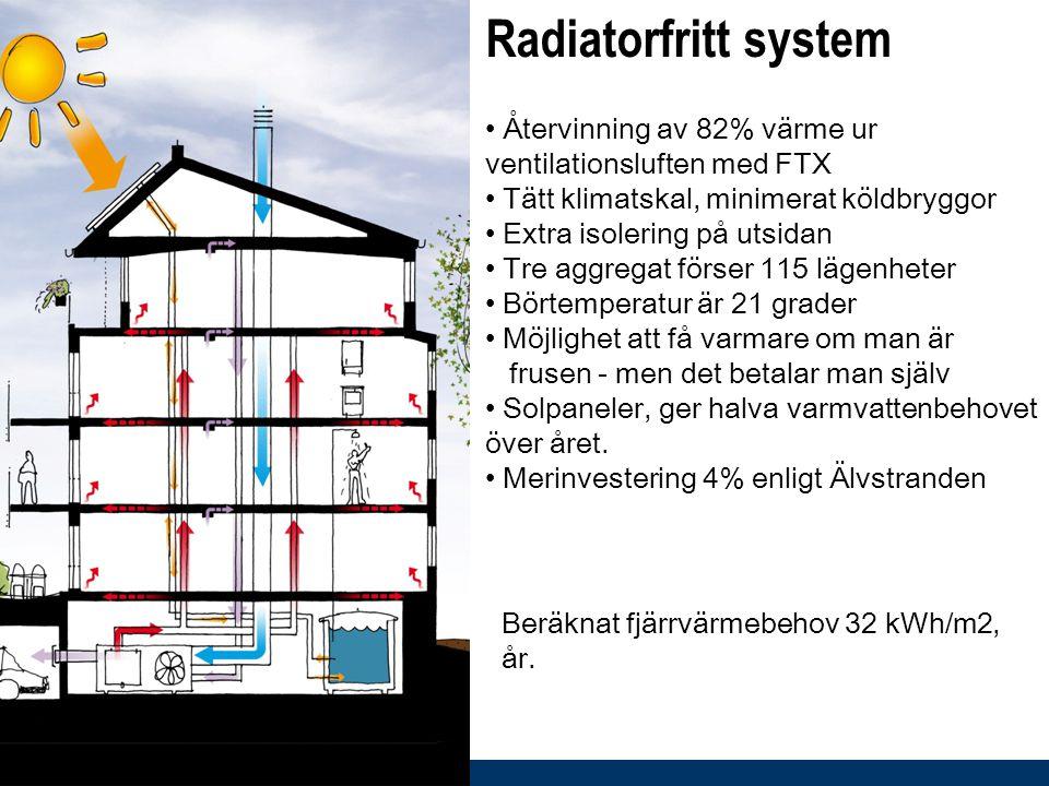 Radiatorfritt system • Återvinning av 82% värme ur ventilationsluften med FTX • Tätt klimatskal, minimerat köldbryggor • Extra isolering på utsidan •