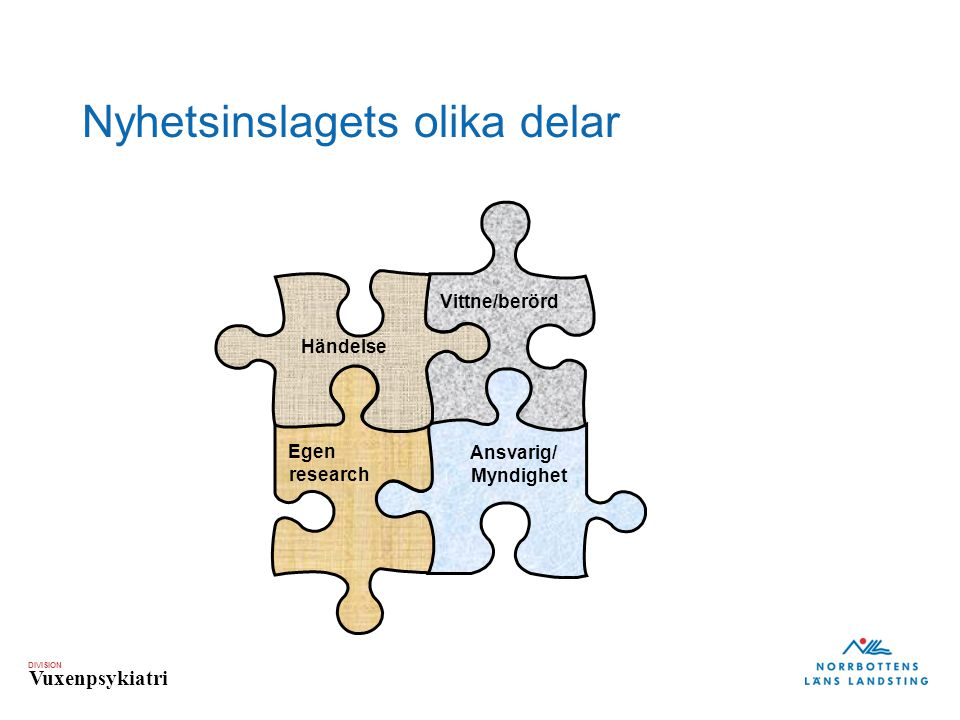 DIVISION Vuxenpsykiatri Händelse Vittne/berörd Egen research Ansvarig/ Myndighet Nyhetsinslagets olika delar