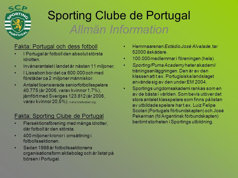 Sporting Clube de Portugal Allmän Information Fakta: Portugal och dess fotboll •I Portugal är fotboll den absolut största idrotten.