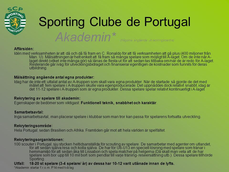Sporting Clube de Portugal Akademin* (frågorna angående utvecklingscentra) Affärsidén: Idén med verksamheten är att då och då få fram en C.