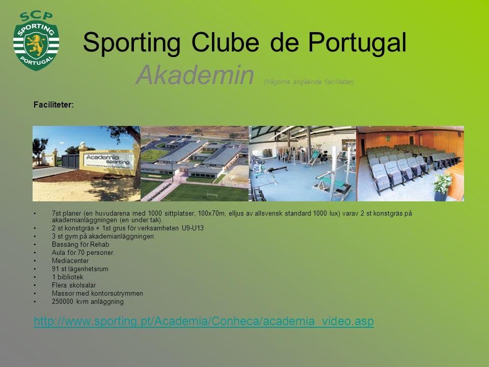 Sporting Clube de Portugal Akademin (frågorna angående faciliteter) Faciliteter: •7st planer (en huvudarena med 1000 sittplatser, 100x70m, elljus av allsvensk standard 1000 lux) varav 2 st konstgräs på akademianläggningen (en under tak).
