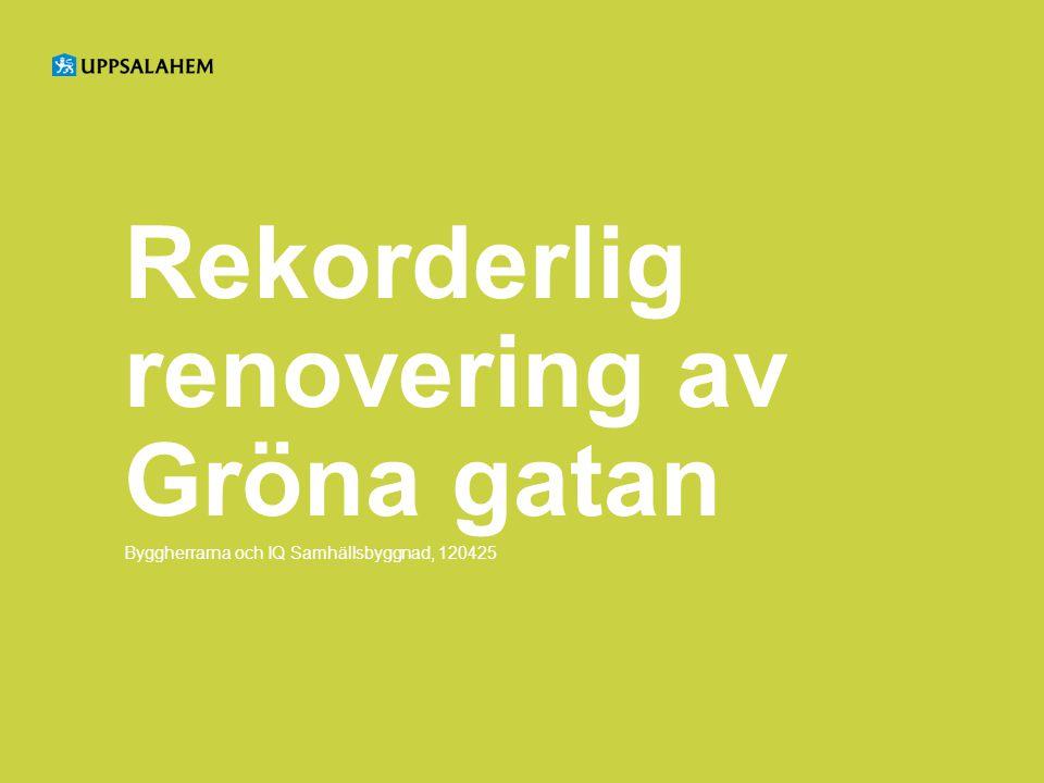 Rekorderlig renovering av Gröna gatan Byggherrarna och IQ Samhällsbyggnad, 120425