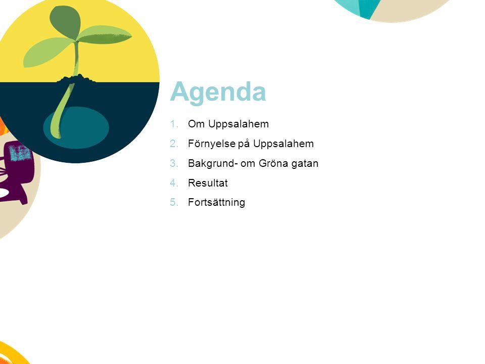 Agenda 1.Om Uppsalahem 2.Förnyelse på Uppsalahem 3.Bakgrund- om Gröna gatan 4.Resultat 5.Fortsättning