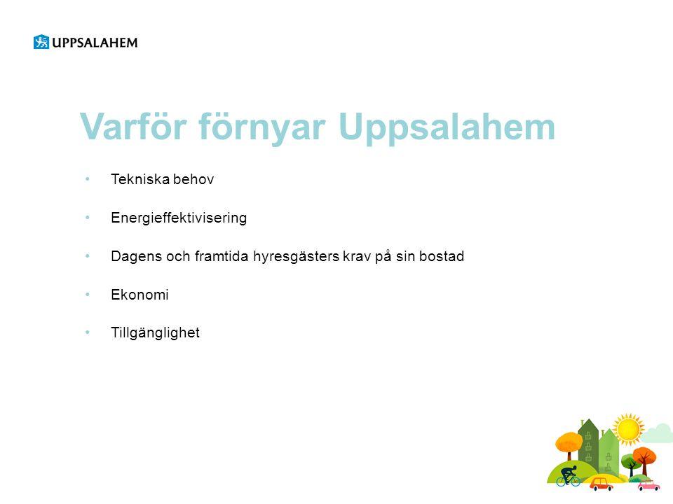 Varför förnyar Uppsalahem •Tekniska behov •Energieffektivisering •Dagens och framtida hyresgästers krav på sin bostad •Ekonomi •Tillgänglighet