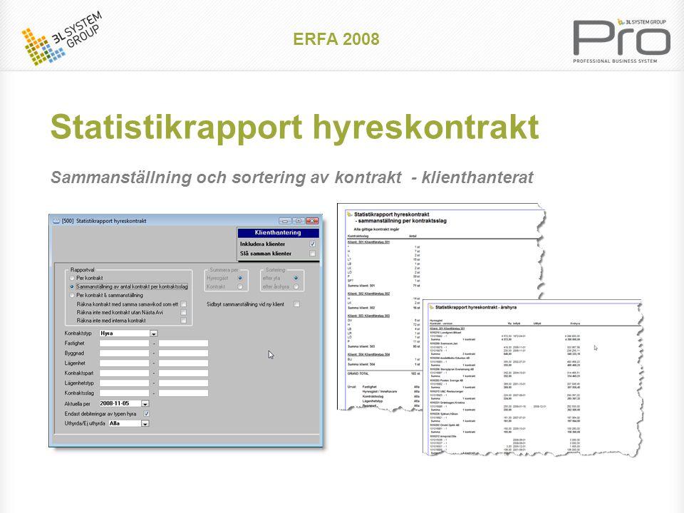 Kontrollista avisering II Används för att hitta kontrakt som behöver eventuellt behöver korrigeras ERFA 2008