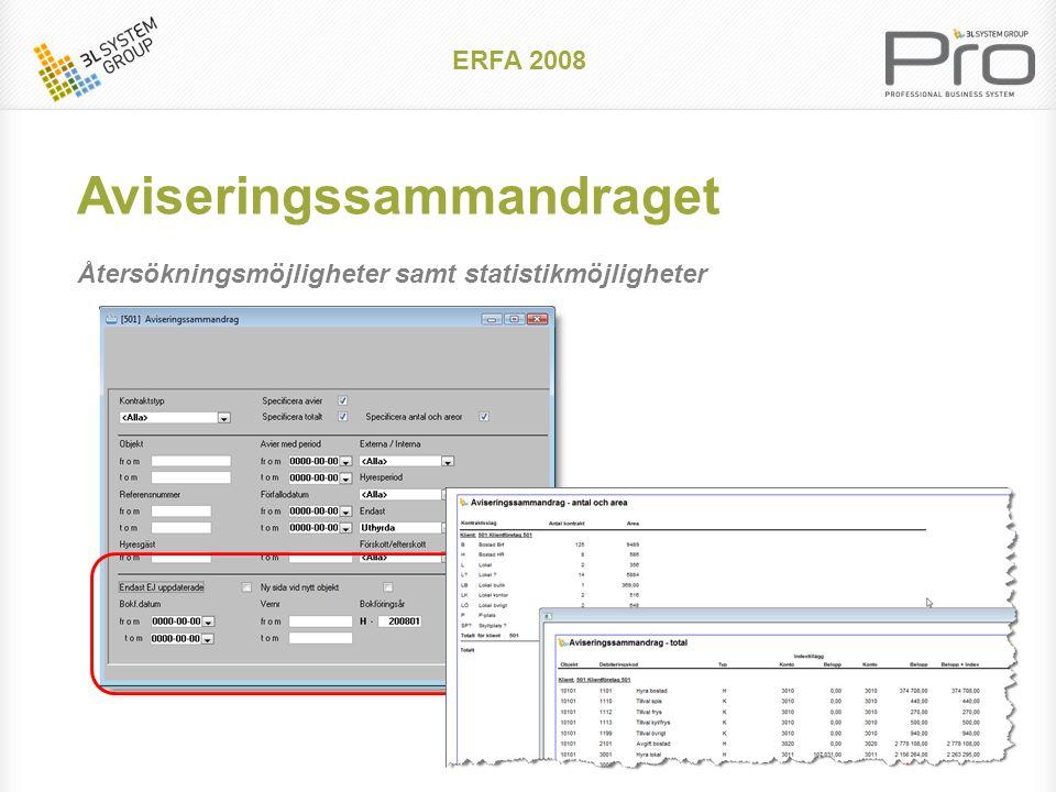 ERFA 2008 Aviseringssammandraget Återsökningsmöjligheter samt statistikmöjligheter