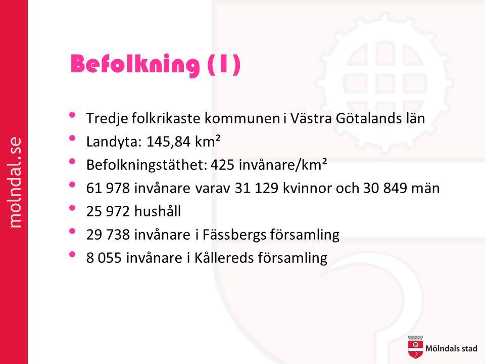 Befolkning (1) • Tredje folkrikaste kommunen i Västra Götalands län • Landyta: 145,84 km² • Befolkningstäthet: 425 invånare/km² • 61 978 invånare varav 31 129 kvinnor och 30 849 män • 25 972 hushåll • 29 738 invånare i Fässbergs församling • 8 055 invånare i Kållereds församling