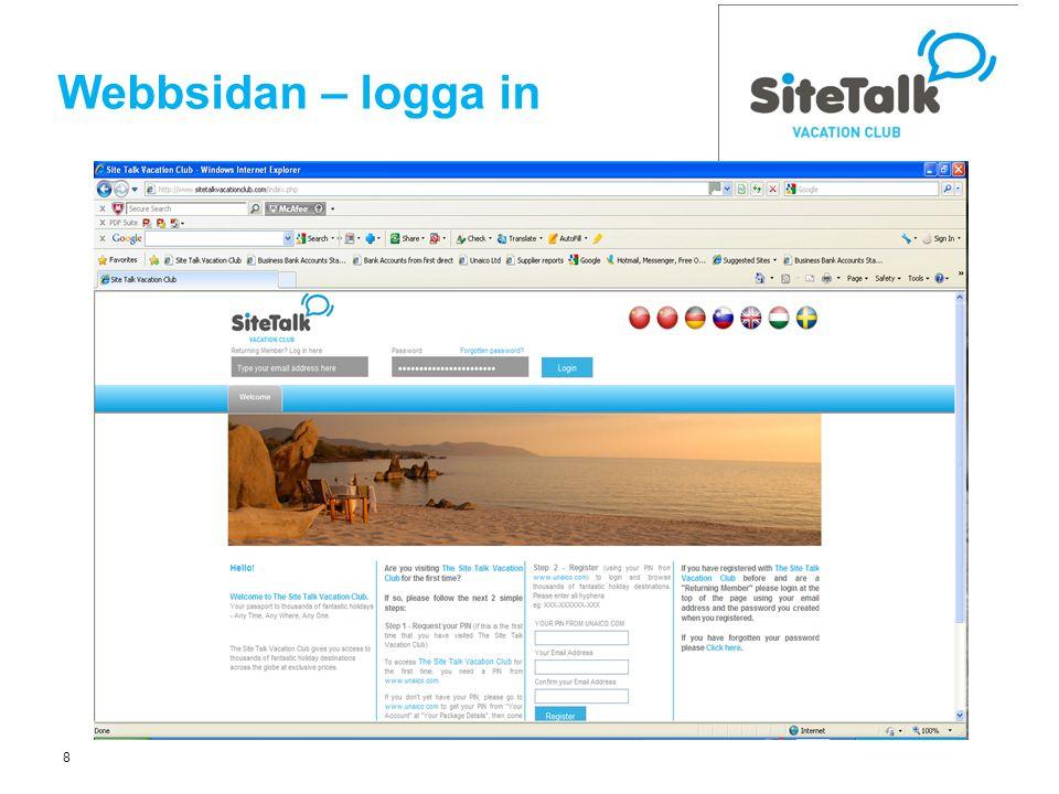 8 Webbsidan – logga in