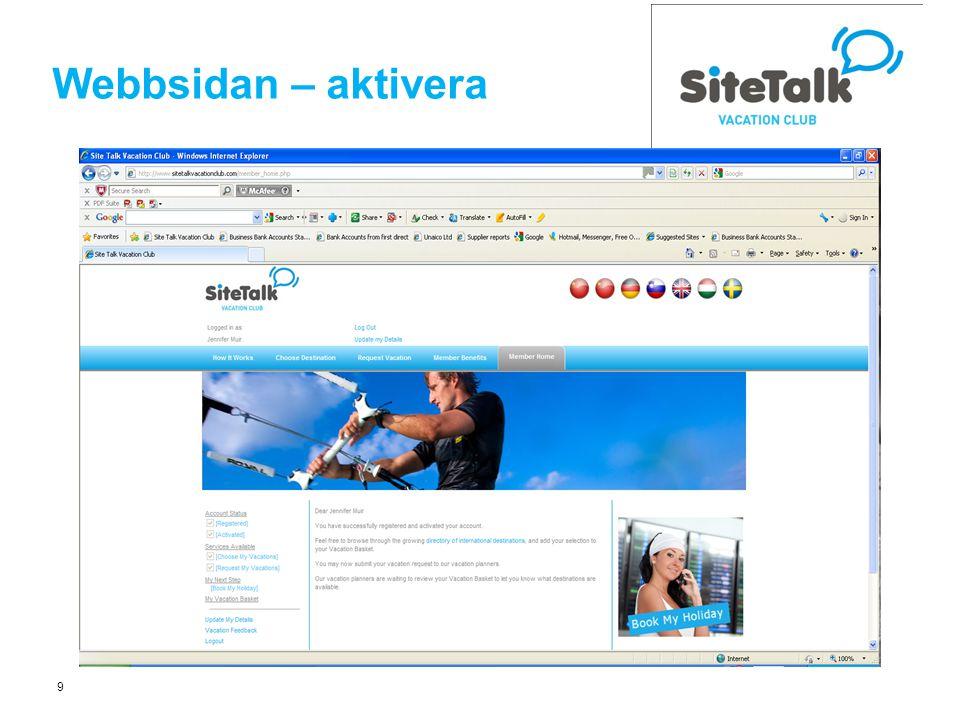 9 Webbsidan – aktivera