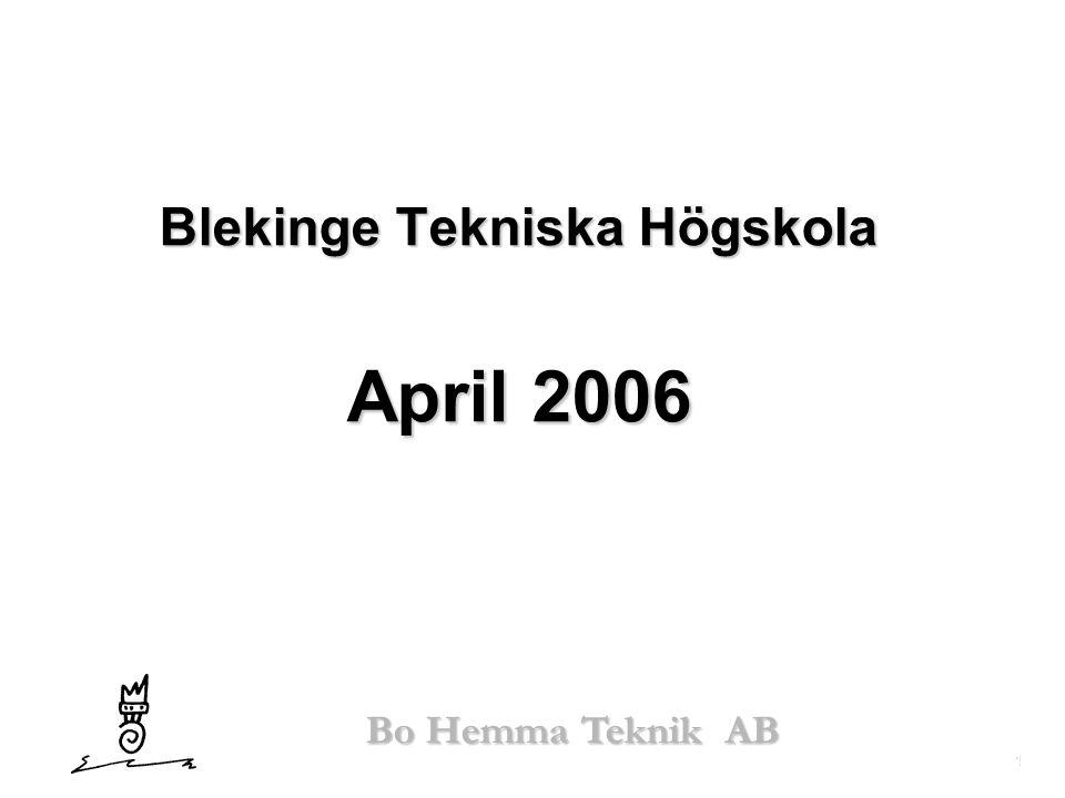 1 Bo Hemma Teknik AB Blekinge Tekniska Högskola April 2006