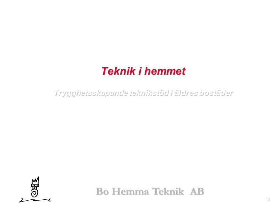 12 Bo Hemma Teknik AB Teknik i hemmet Trygghetsskapande teknikstöd i äldres bostäder