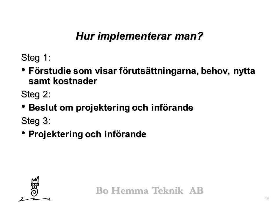 19 Bo Hemma Teknik AB Hur implementerar man? Steg 1: • Förstudie som visar förutsättningarna, behov, nytta samt kostnader Steg 2: • Beslut om projekte