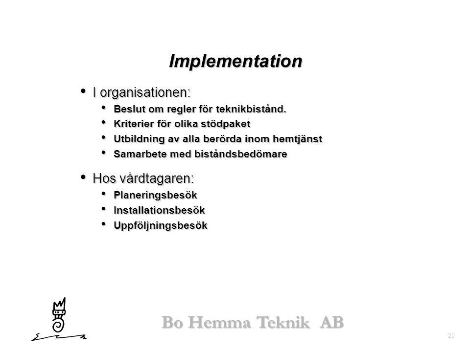20 Bo Hemma Teknik AB Implementation • I organisationen: • Beslut om regler för teknikbistånd. • Kriterier för olika stödpaket • Utbildning av alla be