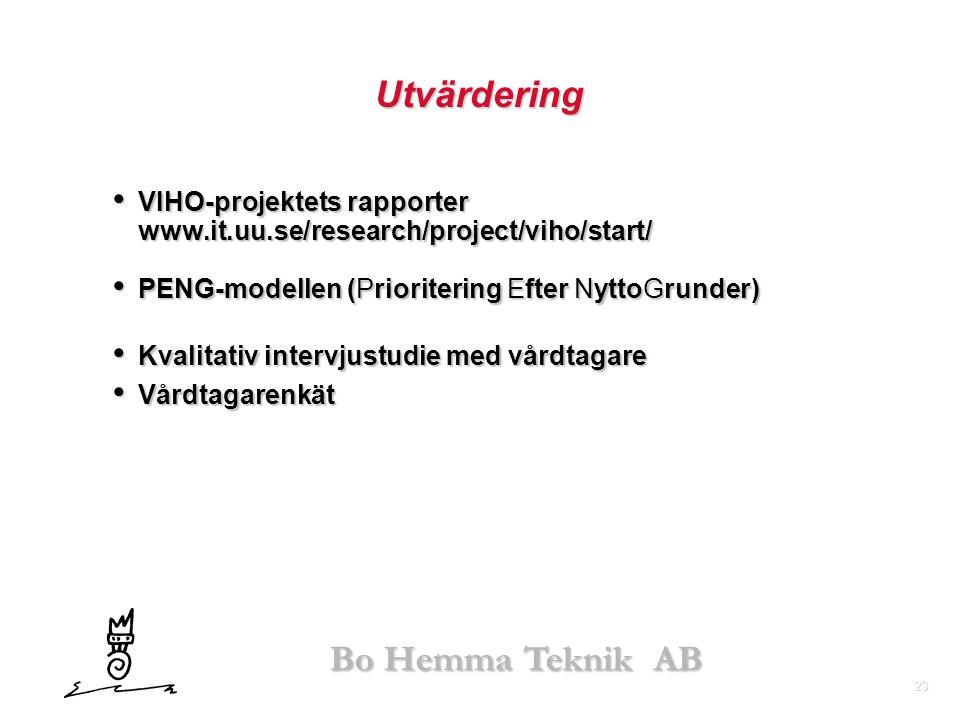 23 Bo Hemma Teknik AB Utvärdering • VIHO-projektets rapporter www.it.uu.se/research/project/viho/start/ • PENG-modellen (Prioritering Efter NyttoGrund