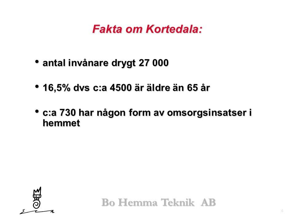 4 Fakta om Kortedala: • antal invånare drygt 27 000 • 16,5% dvs c:a 4500 är äldre än 65 år • c:a 730 har någon form av omsorgsinsatser i hemmet