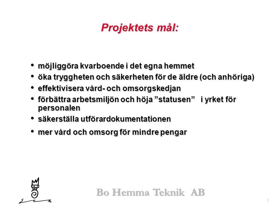 6 Bo Hemma Teknik AB Projektets mål: • möjliggöra kvarboende i det egna hemmet • öka tryggheten och säkerheten för de äldre (och anhöriga) • effektivi