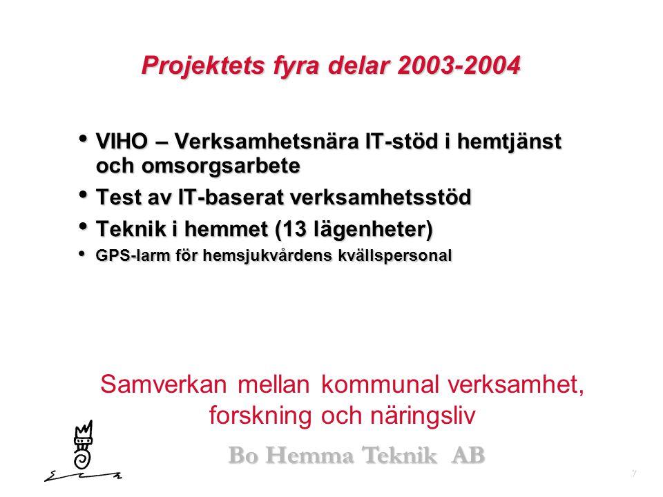 7 Bo Hemma Teknik AB Projektets fyra delar 2003-2004 • VIHO – Verksamhetsnära IT-stöd i hemtjänst och omsorgsarbete • Test av IT-baserat verksamhetsst
