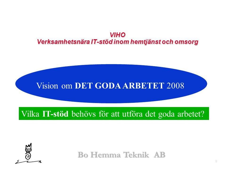 8 Bo Hemma Teknik AB VIHO Verksamhetsnära IT-stöd inom hemtjänst och omsorg Vision om DET GODA ARBETET 2008 Vilka IT-stöd behövs för att utföra det go
