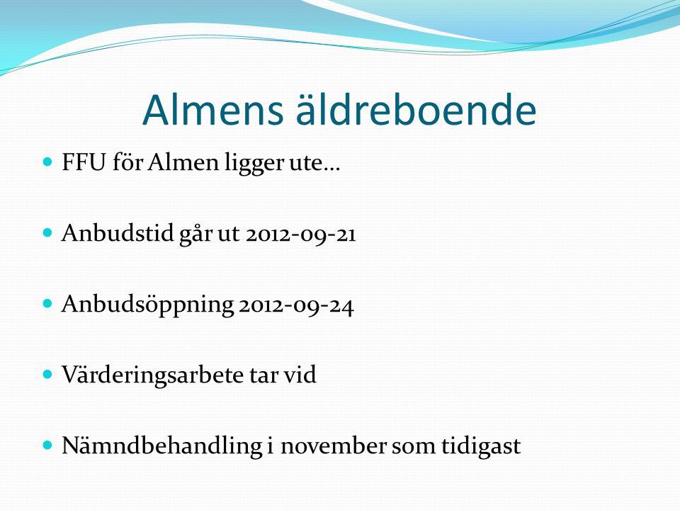 Almens äldreboende  FFU för Almen ligger ute…  Anbudstid går ut 2012-09-21  Anbudsöppning 2012-09-24  Värderingsarbete tar vid  Nämndbehandling i november som tidigast